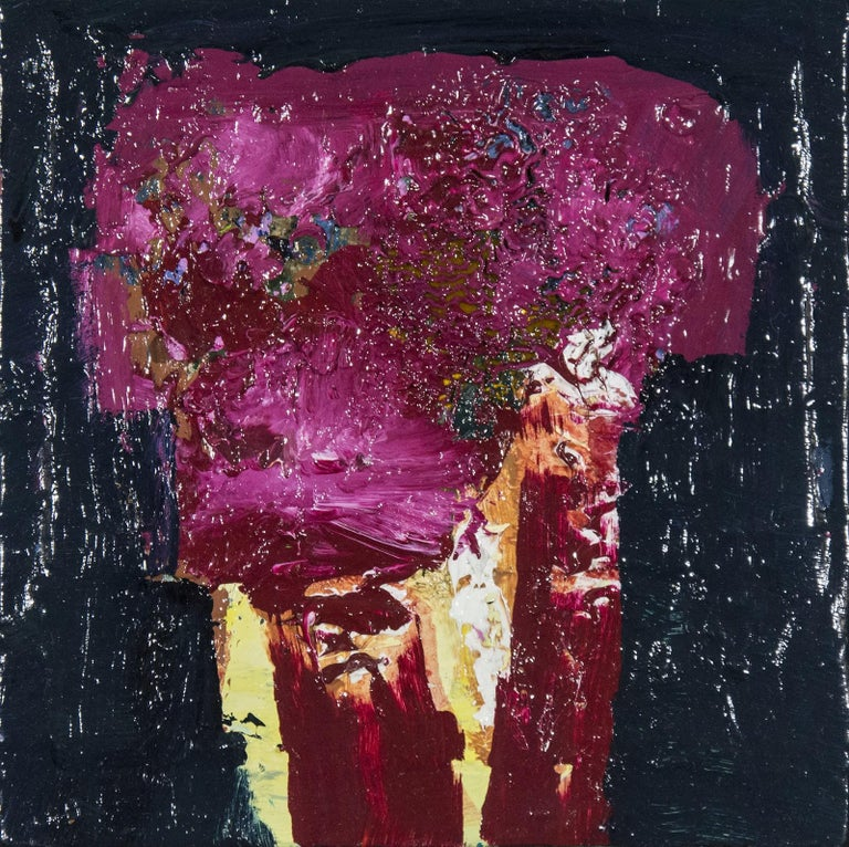 Brown Oxide with Magenta - small dark blue, pink, figurative still life oil For Sale 1