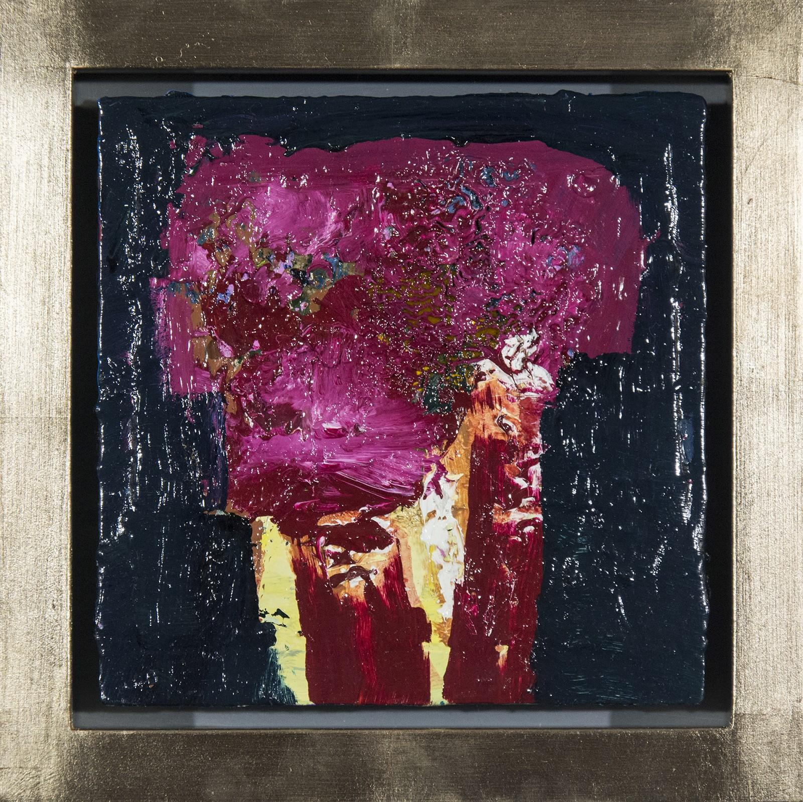 Brown Oxide with Magenta - small dark blue, pink, figurative still life oil