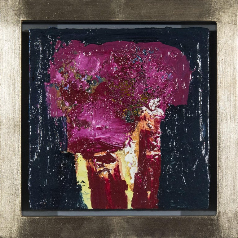 Jennifer Hornyak Still-Life Painting - Brown Oxide with Magenta - small dark blue, pink, figurative still life oil