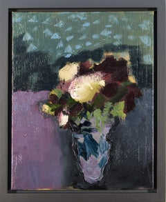 Burgundy with Cream - small, floral, intimate, figurative, still life oil