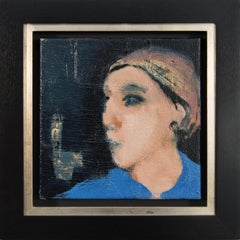 Femme en bleu - small, intimate, blue, pink, female figurative oil painting