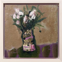 Fiori Bianchi - small, floral, intimate, still life oil and collage on canvas