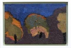 Three Trees - small, green, orange, blue, purple landscape oil painting