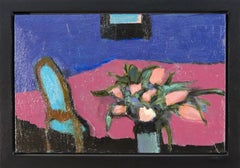 Tulips and Table - small, blue, pink, green, floral, figurative still life oil