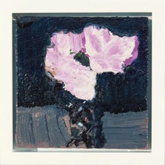 White with Pink and Indigo - small, elegant, dark blue, floral still life oil