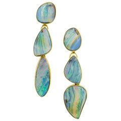 Boulder Opal Earring Gold 22 Karat, 18 Karat, 14 Karat dangle Jennifer Kalled