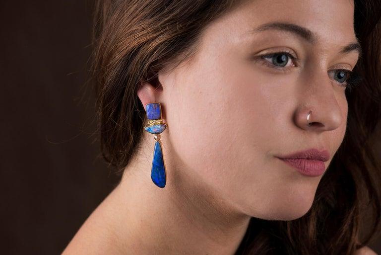 Jennifer Kalled Opal Earrings Rose Cut Diamonds 22 Karat
