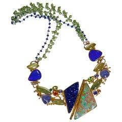 Boulder Opal Necklace Aquamarine Tanzanite Drusy Chalcedony Tsavorite 22k, 18k