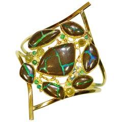 Boulder Opal Rose Cut Diamond Tsavorite Emerald Cuff 22k 18k 14k