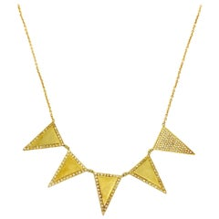 Jennifer Meyer 18K Yellow Gold and Diamond Triangle Necklace