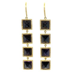 Jennifer Meyer 18K Yellow Gold Diamond and Amethyst Drop Dangle Earrings