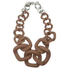 Jennifer Miller Brown & Silver Large Link Necklace