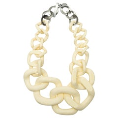 Jennifer Miller Cream & Brown Large Link Necklace