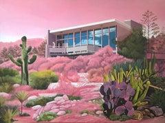 Strange Season, surrealist architecture and desert landscape oil painting, 2020