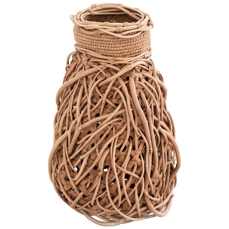 """Jennifer Zurick, """"Entwined"""", Crafts Basket, Willow Bark and Honeysuckle Vine For Sale"""