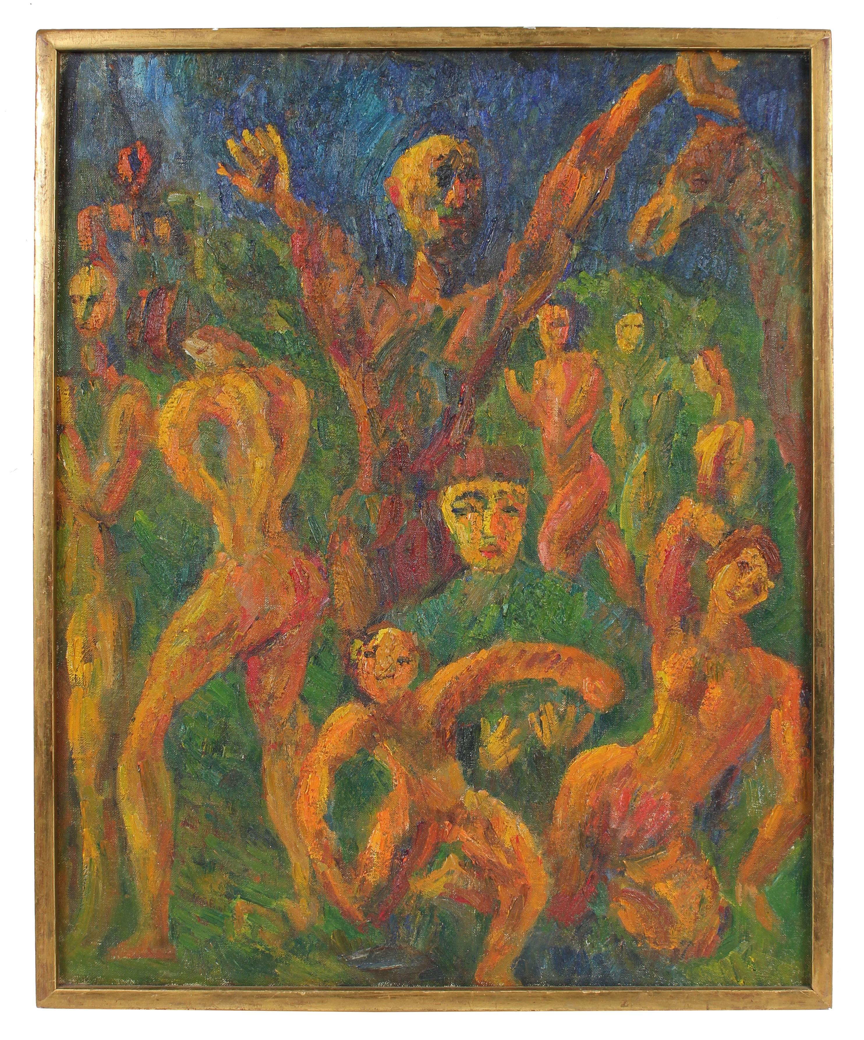 """""""Allegory"""" Expressionist Oil Painting, 1947"""