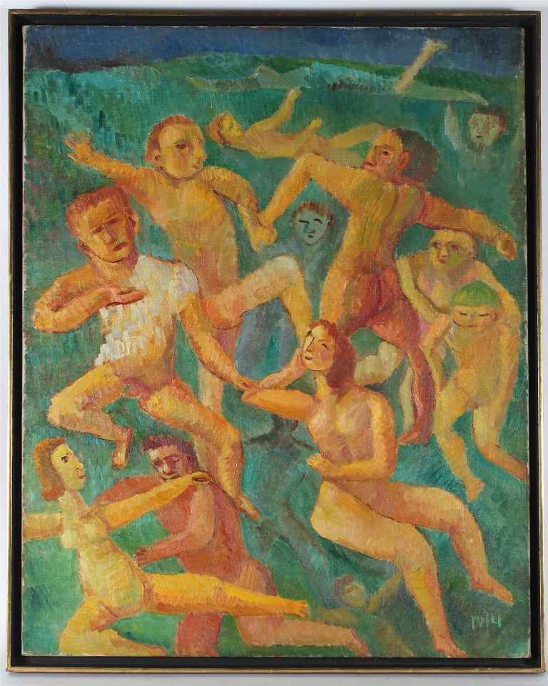 """Swimmers"" Expressionist Figurative Scene, Oil on Canvas, 1948"