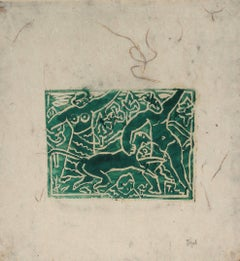 Figurative Woodcut Print in Green Ink, Early 20th Century