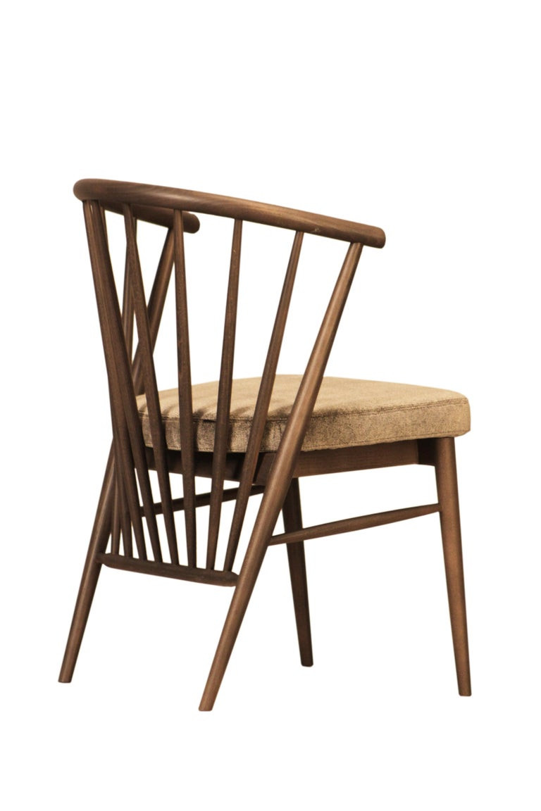 Italian Jenny, Contemporary Upholstered Dining Chair in Hand Turned Ashwood, by Morelato For Sale