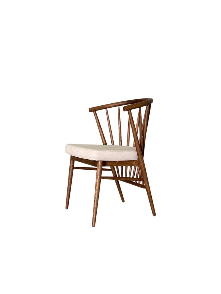 Jenny, Contemporary Upholstered Dining Chair in Hand Turned Ashwood, by Morelato In New Condition For Sale In Salizzole, IT