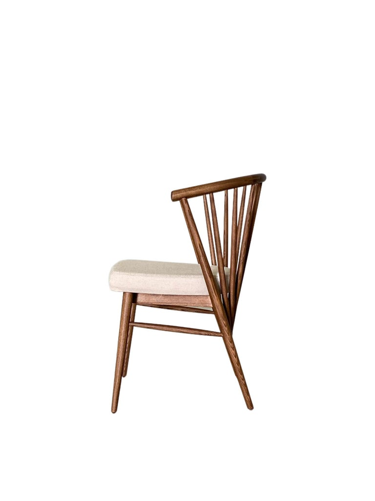 Fabric Jenny, Contemporary Upholstered Dining Chair in Hand Turned Ashwood, by Morelato For Sale