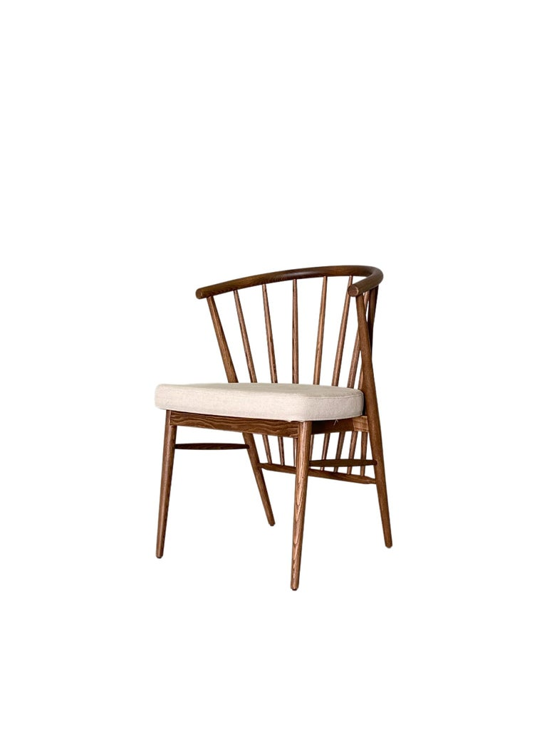 Jenny, Contemporary Upholstered Dining Chair in Hand Turned Ashwood, by Morelato For Sale 1