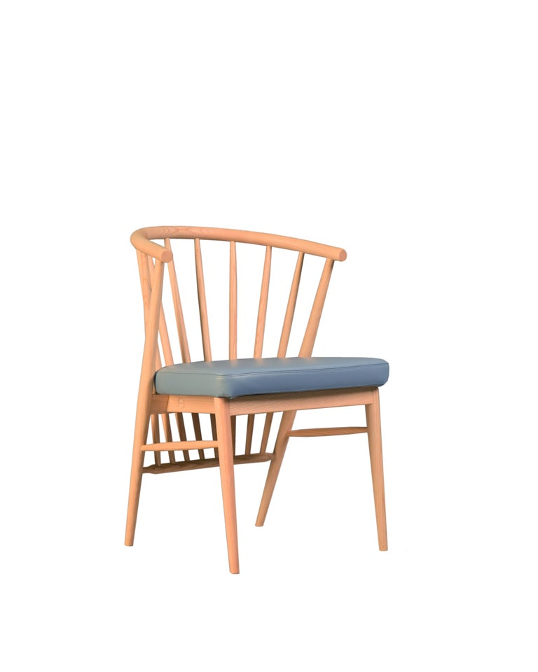 Jenny, Contemporary Upholstered Dining Chair in Hand Turned Ashwood, by Morelato For Sale 2