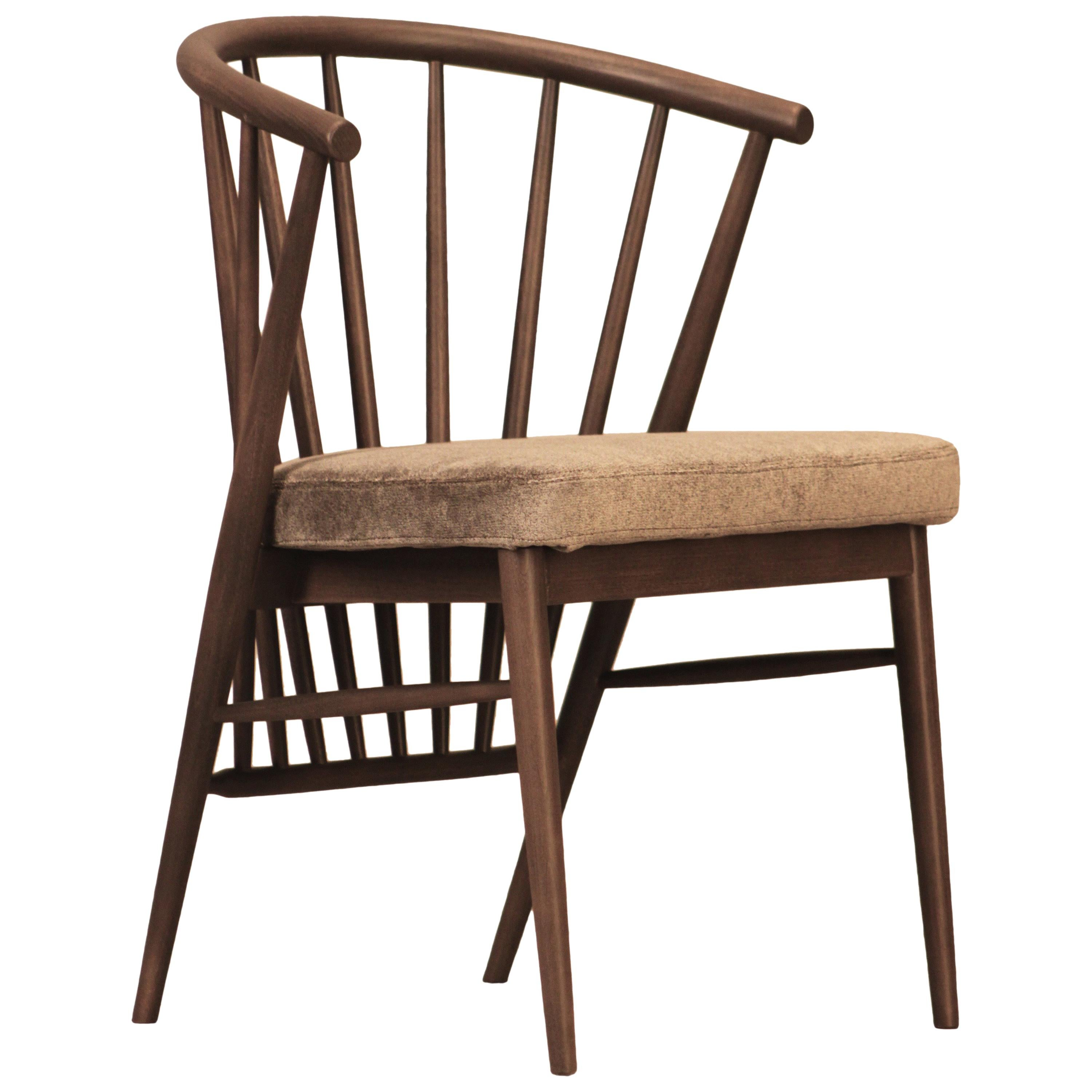 Jenny, Contemporary Upholstered Dining Chair in Hand Turned Ashwood, by Morelato