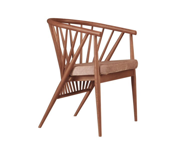 Jenny Contemporary Upholstered Easy Chair in Hand Turned Ashwood In New Condition For Sale In Salizzole, IT