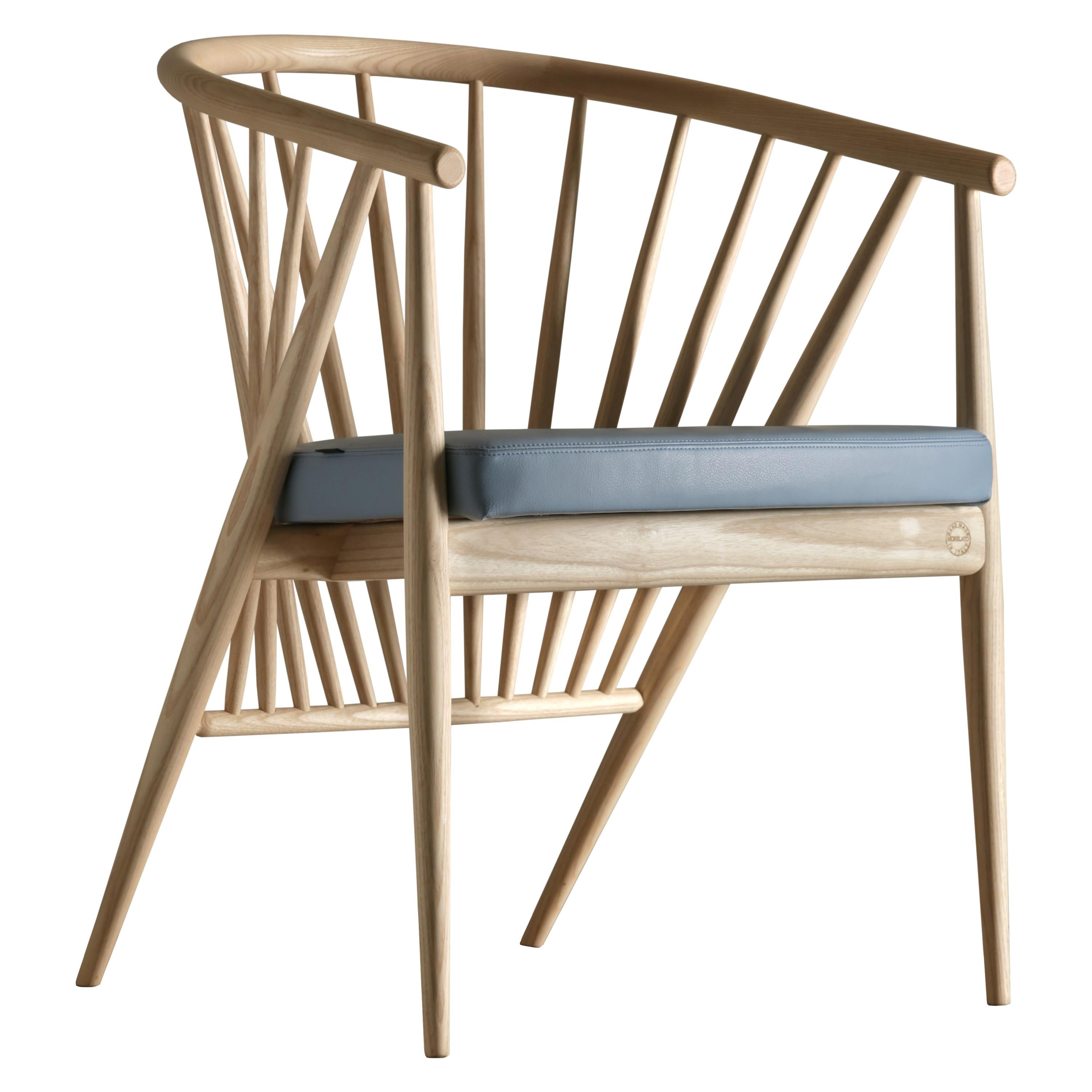 Jenny, Contemporary Upholstered Easy Chair in Hand Turned Ashwood, by Morelato