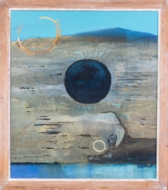 Original 20th Century large abstract blue oil painting of Antipodean land