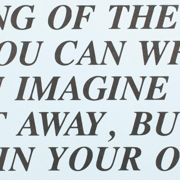 Jenny Holzer is one of the most important and original artists of the 20th century.  Her body of work, with an emphasis on text, is consistently provocative and occasionally frightening, manipulating the language of both pop culture and government