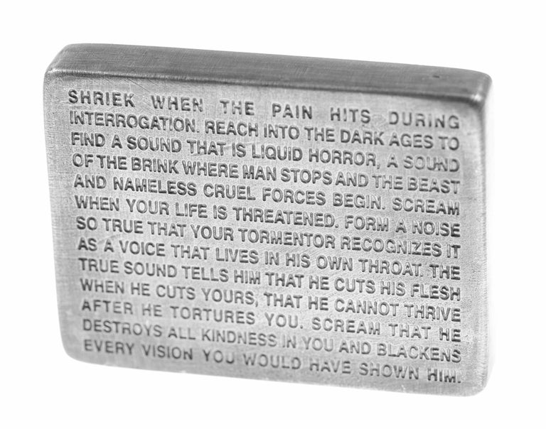 Inflammatory Essays -- Sculpture, Pewter, Text Art by Jenny Holzer For Sale 2