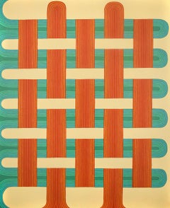 Clasp (Gingham Inspired Abstract Painting in Soft Yellow, Red, Orange & Teal)