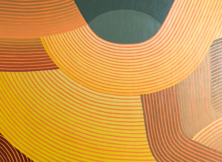 Downside, Vertical Abstract Geometric Painting with Peach, Yellow, Coral, Teal - Orange Abstract Painting by Jenny Kemp