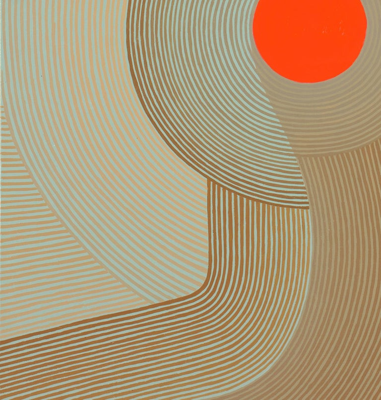 Fly By, Vertical Abstract Geometric Painting with Red, Coral, Mint Blue, Beige For Sale 3