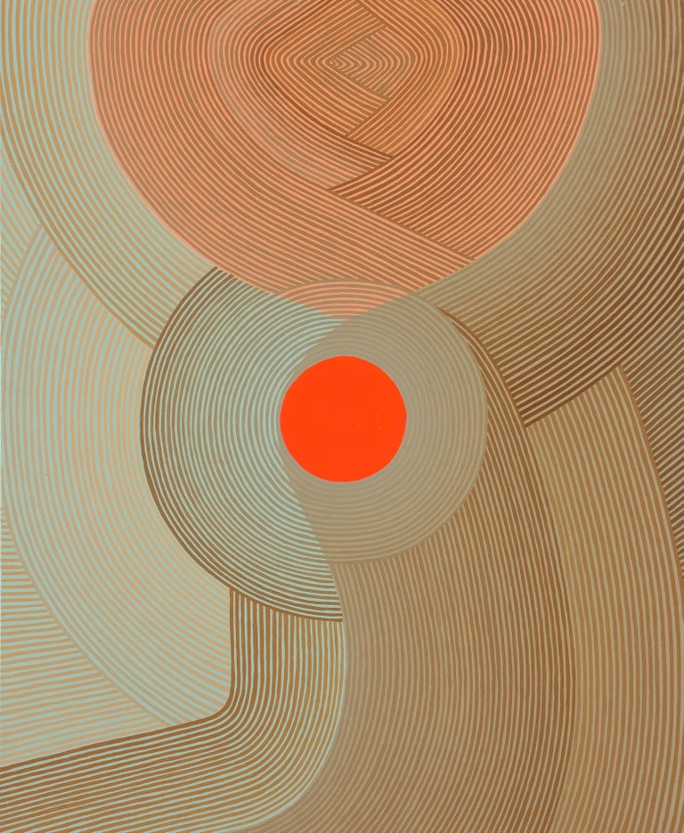 Jenny Kemp Abstract Painting - Fly By, Vertical Abstract Geometric Painting with Red, Coral, Mint Blue, Beige
