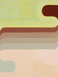 Free Thought (Graphic Abstract Painting in Peach, Raw Siena and Chartreuse)