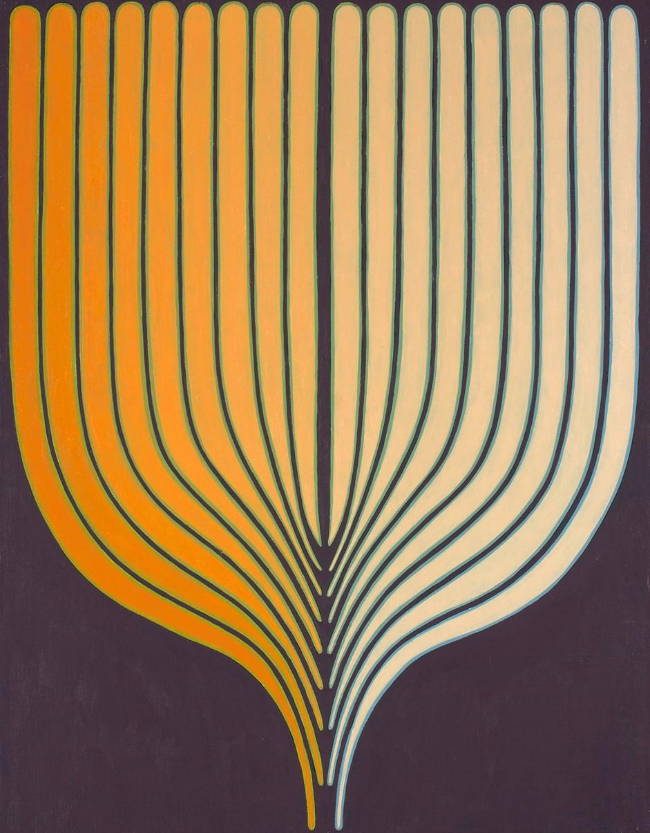 Golden, Vertical Abstract Geometric Painting in Light Orange, Eggplant, Mauve