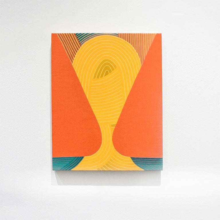 Keeper (Graphic Abstract Painting on Linen in Teal, Sienna and Warm Yellow) - Orange Abstract Drawing by Jenny Kemp