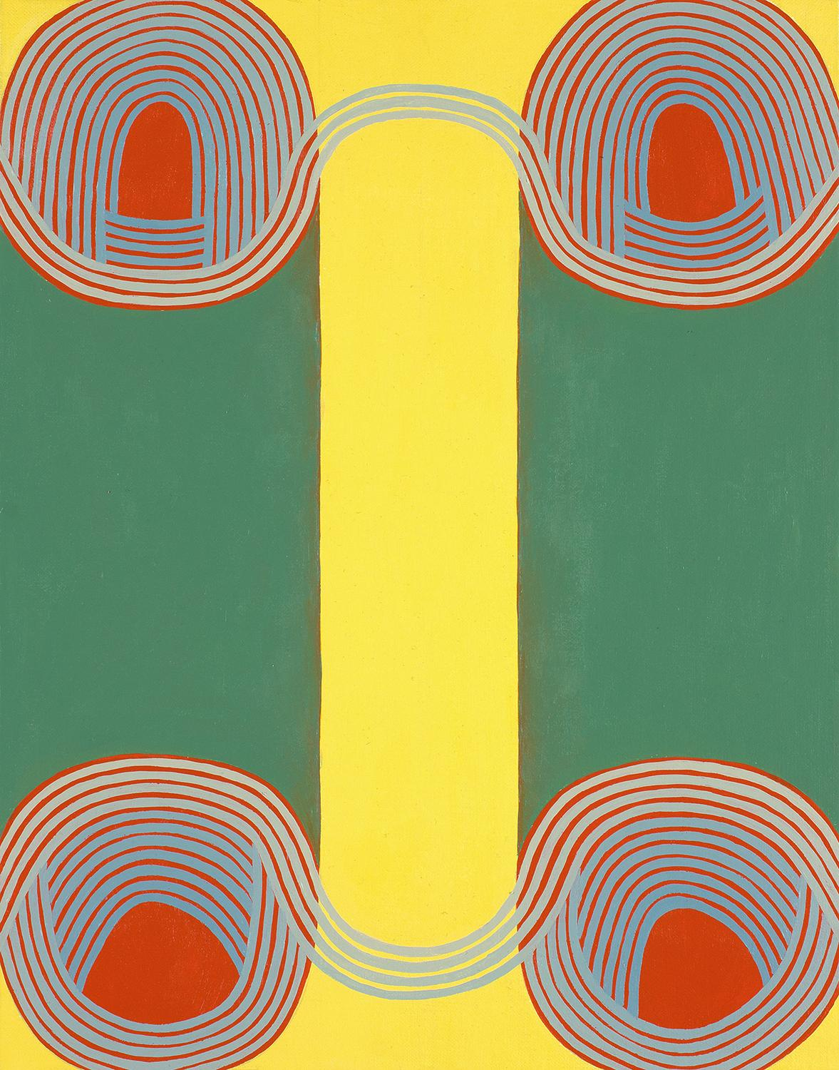 Twins (Graphic Abstract Painting on Linen in Green, Red and Yellow)
