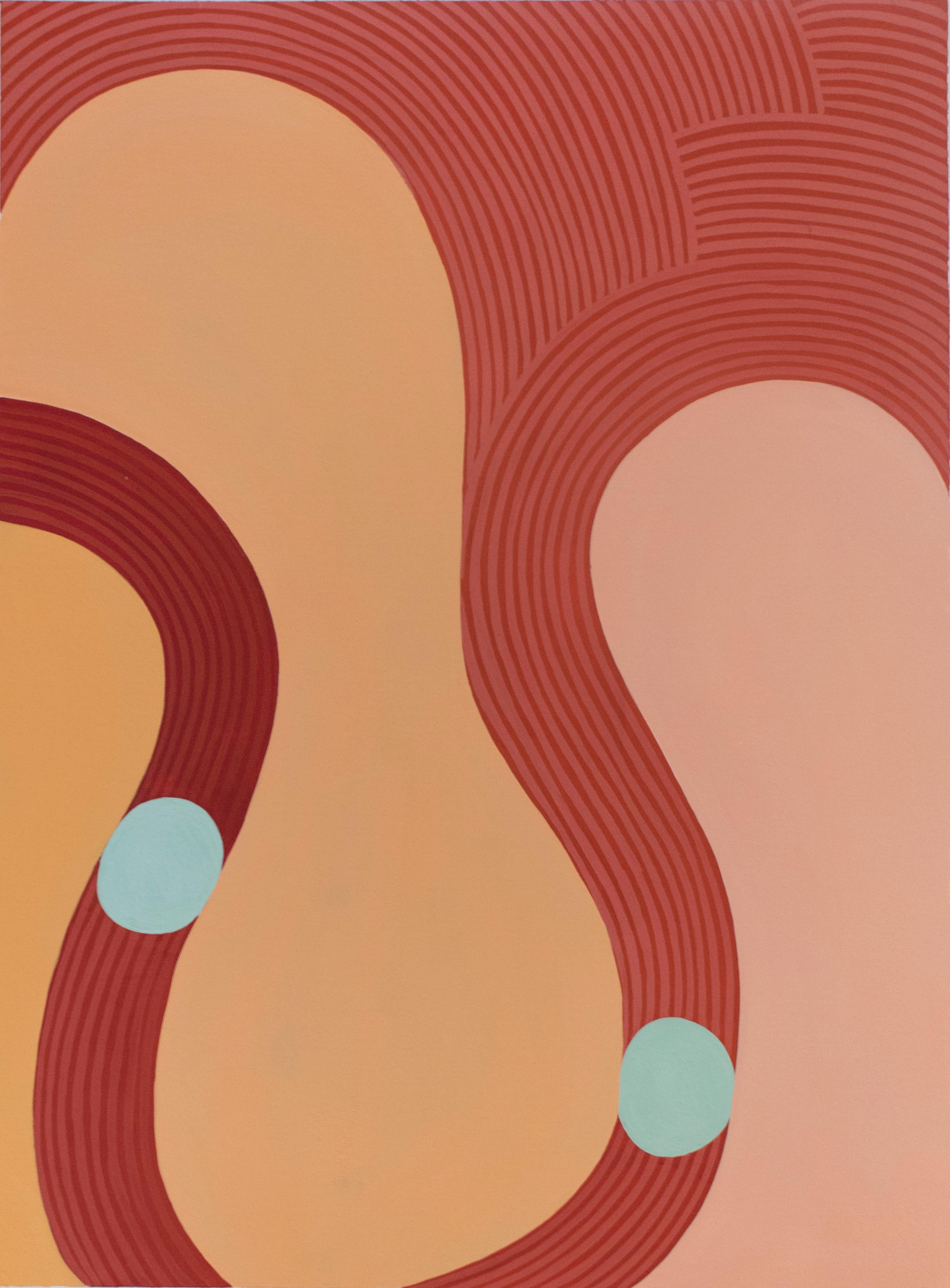 Untitled 1 (Graphic Abstract Painting on Paper in Peach, Red & Light Orange)