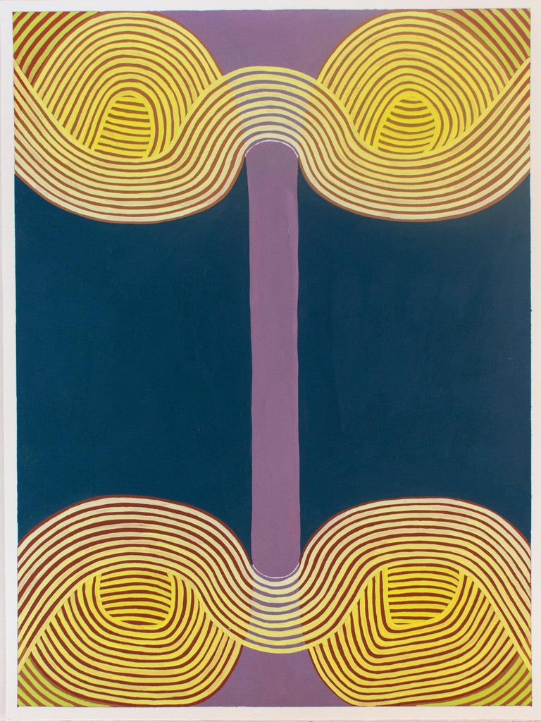 Untitled 2 (Graphic Abstract Painting on Paper in Purple, Yellow & Blue) - Art by Jenny Kemp