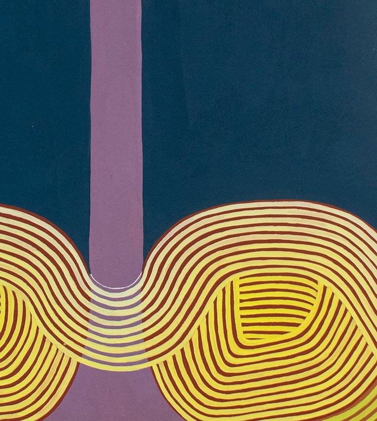 Graphic abstract painting on paper in complementary shades of blue and purple with contrasting yellow detail