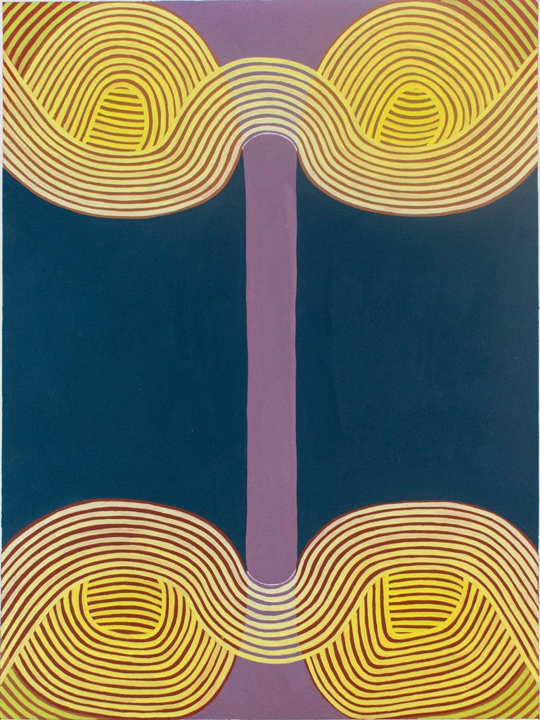 Jenny Kemp Abstract Drawing - Untitled 2 (Graphic Abstract Painting on Paper in Purple, Yellow & Blue)