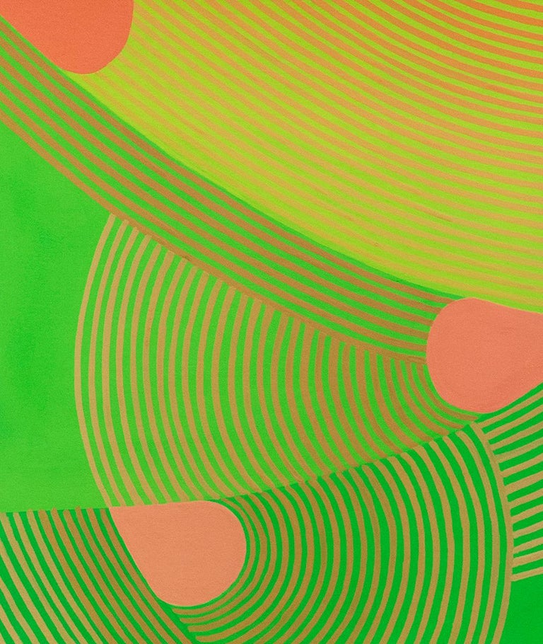 Untitled 3: Graphic Abstract Painting on Paper in Lime Green, Pear Green & Peach 2