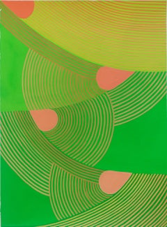 Untitled 3: Graphic Abstract Painting on Paper in Lime Green, Pear Green & Peach