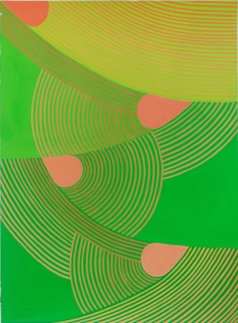 """Graphic abstract painting on paper in complementary shades of lime and pear green with contrasting details of hot peach """"Untitled 3"""" by Jenny Kemp, painted in 2019 gouache on paper, unframed 15 x 11 inches  Signed verso  Jenny Kemp's abstract"""