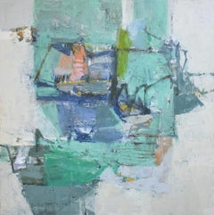 An Island Appears (Gestural Abstract Painting on Canvas in Blue, Grey & Aqua)