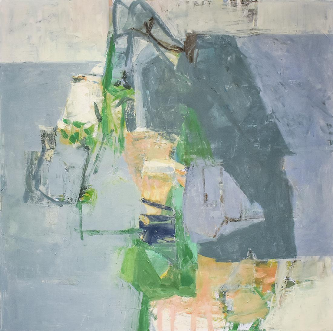 Arrow (Abstract Expressionist Oil Painting in Light Blue, Paynes Grey & Green)